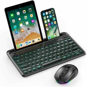 Jelly Comb 7-Color RGB Wireless Keyboard and Mouse - NEW Sealed in Box - Black