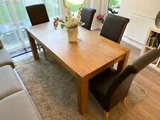Solid Oak Chunky Dining Kitchen Table with 4 Chairs - Excellent Condition