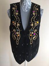 Gavin Brown Womens Waistcoat Size 12 Black Genuine Suede Leather Gold Embellishe