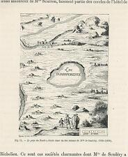 ANTIQUE COUNTRY ALLEGORICAL MAP FROM NOVEL MADELEINE DE SCUDERY CHESHIRE PRINT