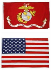 Wholesale Combo Lot 2x3 ft Usa Flag & Usmc Marines Marine 2x3 2 Flags perma dye