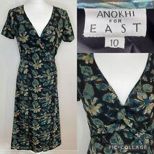 Anokhi para Oriente Negro Y Verde Azulado Vestido Talla 10 Floral midaxi Boho Hippy Indio De Algodón