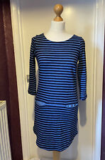 WHITE STUFF 'NAVY ST' Blue Horizontal Stripe Tunic Dress Top with Pockets UK 8