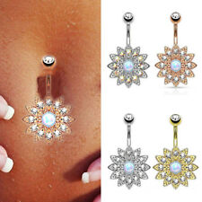 Fashion Sun Flower Navel Belly Button Ring Bar Gem Crystal Piercing Body Jewelry