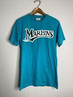 Vintage Florida Marlins Teal 90s MLB Baseball Crew Neck Tee Shirt Small