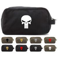 Punisher Skull Canvas Shower Kit Travel Toiletry Bag Case