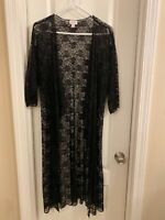LuLaRoe Shirley Kimono Cover Up Noir Solid Black Floral Lace Medium M Elegant