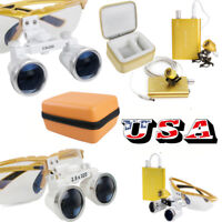 US 2.5x 3.5x Dental Loupes Surgical Binocular Optical Glass Head Light Lamp Case