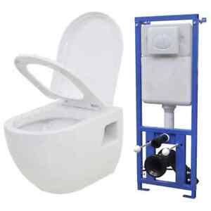 Wand Hänge Toilette mit Einbau-Spülkasten Unterputz Keramik WC Sitz 5 Z0B9