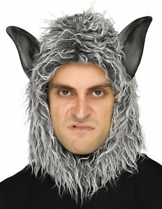 ADULT GREY WOLF MAN BEAST FURRY MASK WITH EARS COSTUME FW93343W
