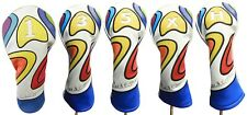 Majek Retro Golf 1 3 5 X H Driver Wood Hybrid Headcover Psychedelic Design Style