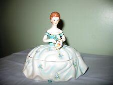 PORCELAIN LADY W/FAN COVERED POWDER/TRINKET BOX-BLUE FLOWERS, GOLD TRIM