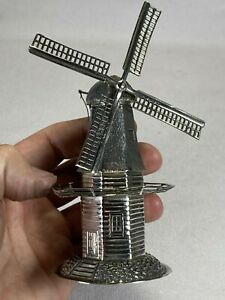 "Rare & Unusual 6"" Tall Dutch .833 Silver Windmill Spice Box Container 105 Grams"