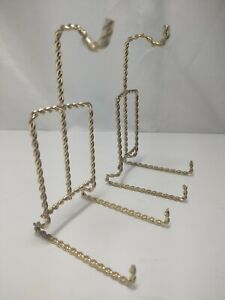 Pair of Plate and Cup Holder Display Stand Brass Gold Color Twisted Metal