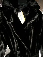 BNWT KAREN MILLEN Black Pony Faux Fur Wrap Front Belt Front Coat Size 12
