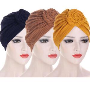 3pcs Women Twist Knot Muslim Turban Hijab Hair Loss Head Wrap Cover Chemo Cap