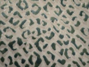 Ocelot Mineral Blue Green Cut Velvet Cheetah Leopard Upholstery Hamilton Fabric