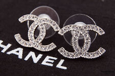 Authentic Chanel Signature  CC Logo Silver Stud Crystal Earrings Medium