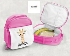Giraffe Lunchbox, Personalised Kids Lunchbag, Insulated Bag, Pink And Blue