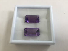 Natural Amethyst 19.50ct Perfect pair Emerald cut 2pc