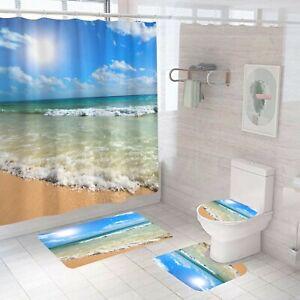 Seaside Bathroom Rug Set Shower Curtain Thick Non Slip Toilet Lid Cover Bath Mat