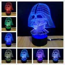 Star Wars Darth Vader Shape 3D RGB LED Lamp One Night Light&7 Different Colors