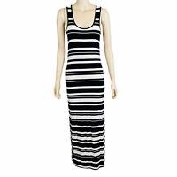 MARCS Women's Size XS Black White Sleeveless Striped Stretch Casual Maxi Dress