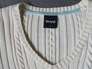 Toggi ladies cream cable knit cotton V neck jumper size 8