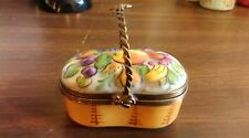 Basket of fruit Limoge France Chamart bee on handle clasp trinket box