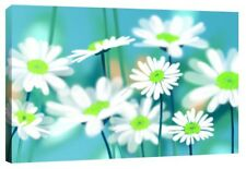 "Vibrant Duckegg Blue Daisy Flowers - Daisies Canvas Art Print Picture 30"" x 20"""