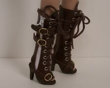 """Chocolate Brown Lace Up Sandal Boots Doll Shoes For 16"""" Tyler Wentworth (Debs)"""
