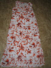 Orange hibiscus maxi dress  ladies womens small USA S long jumper 6 8 pullover