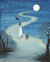 ACEO PRINT OF PAINTING RYTA BLACK CAT CROW WICCA GOTHIC HALLOWEEN GHOST WITCH