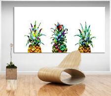 Ananas Retro Bunt Frucht Bild auf Leinwand Bilder Wandbilder Kunstdruck D0294