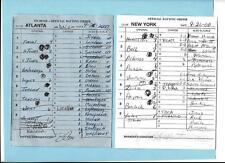 Sept 26, 2000 Atlanta Braves/New York Mets Line Up Cards Bobby Cox Autograph