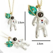 N909 Betsey Johnson Lucky Green Jupiter Saturn Spaceman Make a Wish Necklace AU