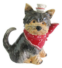 Australian Silky or Yorkshire Terrier Collectable Dog Teapot Ceramic Blue Sky