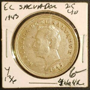 El Salvador 1943 25 Centavos (Silver Coin)
