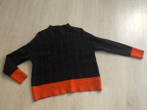 Jaeger Navy & Orange Check High Neck Boxy Jumper Sz M - 100% Wool