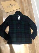 BNWT POLO RALPH LAUREN Men's Wool Tartan Shawl Cardigan Size M RRP £695