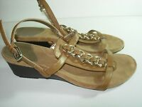 WOMENS BROWN CAMEL GOLD CHAIN BANDOLINO SLINGBACK SANDALS HEELS SHOES SIZE 10 M