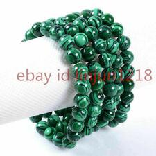 "Round Gemstone Beads Bracelet 7.5"" Wholesale 5pcs 10mm Fashion Green Malachite"