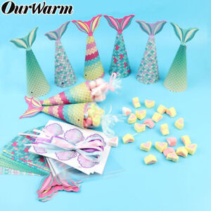 10/12x DIY Mermaid Tail Sweet Cone Kit Candy Boxes Birthday Party Favor Gift Bag