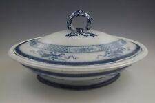c.1863 Brown Westhead Moore, Trophies Flow Blue Tureen, Ironstone