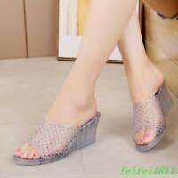 Summer Women's Sandals Slippers Shoes Hollow Out Wedge Heel Crystal Jelly Beach