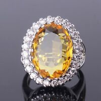 Woman favorable design 18k white gold filled yellow sapphire crystal ring SzM-T