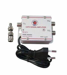 Amplificatore Segnale Antenna TV Digitale terrestre via cavo 2 USCITE +20dB