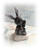 "4"" Faux Fur Little Baby Bunny Rabbit Teddy Bear OOAK jointed Artist one off"