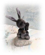 "4"" Faux Fur Little Baby Bunny Rabbit Teddy Bear OOAK jointed Artist one off"