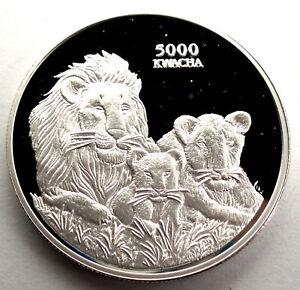 ZAMBIA 5000 KWACHA 1999 BU Silver Proof KM#157 Lions' pride & COA, Rare. B16